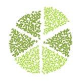 Πράσινο διάγραμμα πιτσών της πράσινης διακόσμησης κύκλων φύλλων Vegan απομονωμένη διανυσματική εικόνα Eco διανυσματική απεικόνιση