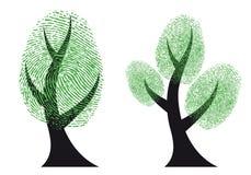 πράσινο διάνυσμα δέντρων δακτυλικών αποτυπωμάτων Στοκ εικόνα με δικαίωμα ελεύθερης χρήσης