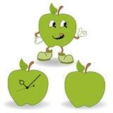 Πράσινο διάνυσμα κινούμενων σχεδίων μήλων Στοκ Εικόνα