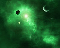 Πράσινο διαστημικό νεφέλωμα διανυσματική απεικόνιση