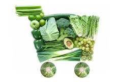 Πράσινο εικονίδιο κάρρων αγορών παντοπωλείων Στοκ Εικόνες