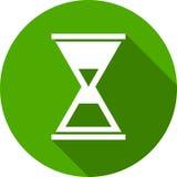 Πράσινο εικονίδιο κλεψυδρών γύρω από το επίπεδο ύφος Στοκ φωτογραφία με δικαίωμα ελεύθερης χρήσης
