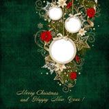 Πράσινο εκλεκτής ποιότητας υπόβαθρο με το πλαίσιο και τις όμορφες διακοσμήσεις Χριστουγέννων Στοκ Εικόνα