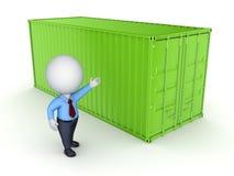 Πράσινο εμπορευματοκιβώτιο και τρισδιάστατο πρόσωπο. Στοκ Εικόνες