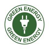 Πράσινο ενεργειακό γραμματόσημο με το σημάδι βουλωμάτων, ενέργεια δύναμης - σύμβολο αποταμίευσης, που απομονώνεται στο άσπρο υπόβ διανυσματική απεικόνιση
