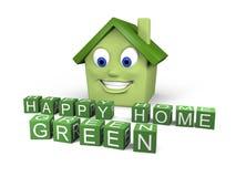 πράσινο ευτυχές σπίτι Στοκ εικόνα με δικαίωμα ελεύθερης χρήσης