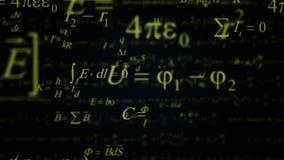 Πράσινο ζουμ τύπων φυσικής και μαθηματικών μέσα απεικόνιση αποθεμάτων