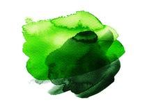 Πράσινο ζωηρόχρωμο συρμένο χέρι κτύπημα watercolor Στοκ Φωτογραφία