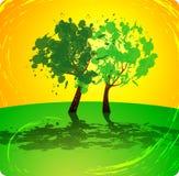 πράσινο θερινό δέντρο ανασκόπησης κίτρινο Στοκ φωτογραφία με δικαίωμα ελεύθερης χρήσης