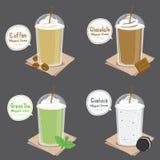 Πράσινο διάνυσμα κινούμενων σχεδίων καταφερτζήδων κρέμας μπισκότων τσαγιού σοκολάτας καφέ ελεύθερη απεικόνιση δικαιώματος