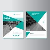 Πράσινο διανυσματικό σχέδιο προτύπων ιπτάμενων φυλλάδιων φυλλάδιων ετήσια εκθέσεων περιοδικών, σχέδιο σχεδιαγράμματος κάλυψης βιβ Στοκ Εικόνες