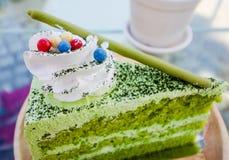 πράσινο ιαπωνικό τσάι matcha κέικ Στοκ Εικόνες