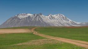 Πράσινο λιβάδι με τον ηφαιστειακό λόφο (εκλεκτική εστίαση στο ηφαίστειο) στοκ φωτογραφία με δικαίωμα ελεύθερης χρήσης
