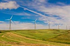 Πράσινο λιβάδι με τους ανεμοστροβίλους που παράγουν την ηλεκτρική ενέργεια Στοκ Εικόνες