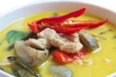 Πράσινο κάρρυ με το χοιρινό κρέας, ταϊλανδικά τρόφιμα. Στοκ Φωτογραφία