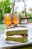 Πράσινο κέικ τσαγιού Στοκ φωτογραφία με δικαίωμα ελεύθερης χρήσης