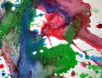 Πράσινο κίτρινο μπλε κόκκινο κέρινο χρώμα, υπόβαθρο μορφών αντίθεσης στα χρώματα κρητιδογραφιών Στοκ Εικόνες