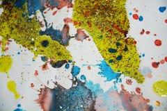 Πράσινο κίτρινο χρυσό κέρινο υπόβαθρο χρωμάτων Watercolor, δημιουργικό σχέδιο Στοκ Εικόνα
