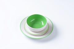 Πράσινο και άσπρο σύνολο γευμάτων Στοκ Εικόνες