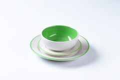 Πράσινο και άσπρο σύνολο γευμάτων Στοκ φωτογραφία με δικαίωμα ελεύθερης χρήσης
