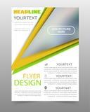 Πράσινο και κίτρινο πρότυπο σχεδίου ιπτάμενων επιχειρησιακών φυλλάδιων Στοκ φωτογραφία με δικαίωμα ελεύθερης χρήσης