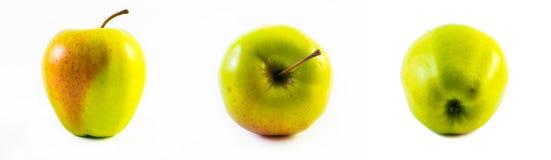 Πράσινο και κόκκινο μήλο - μπροστινή άποψη, πλάγια όψη και πίσω άποψη σχετικά με ένα άσπρο υπόβαθρο Στοκ Εικόνα