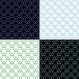 Πράσινο και μπλε σύνολο σχεδίων κλιμάκων άνευ ραφής Στοκ φωτογραφίες με δικαίωμα ελεύθερης χρήσης