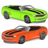Πράσινο και πορτοκαλί σπορ αυτοκίνητο χωρίς κορυφή Κλασικός εκλεκτής ποιότητας sportcar Αναδρομικό αυτοκίνητο δύο που απομονώνετα Στοκ φωτογραφία με δικαίωμα ελεύθερης χρήσης