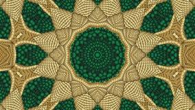 Πράσινο και χρυσό αφηρημένο συμμετρικό υπόβαθρο για την εκτύπωση clo Στοκ εικόνα με δικαίωμα ελεύθερης χρήσης