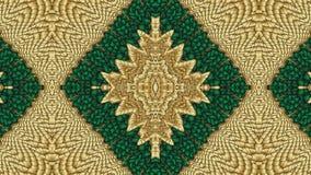 Πράσινο και χρυσό αφηρημένο συμμετρικό υπόβαθρο για την εκτύπωση clo Στοκ φωτογραφίες με δικαίωμα ελεύθερης χρήσης