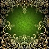 Πράσινος-χρυσό εκλεκτής ποιότητας floral πλαίσιο Στοκ Φωτογραφία