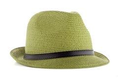 Πράσινο καπέλο αχύρου Στοκ Εικόνες