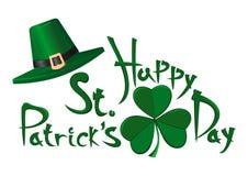 Πράσινο καπέλο leprechaun, φύλλο τριφυλλιού και επιγραφή χαιρετισμού - ευτυχής ημέρα του ST Patricks Στοκ εικόνες με δικαίωμα ελεύθερης χρήσης