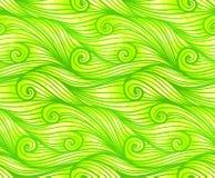 Πράσινο κατσαρωμένο διανυσματικό άνευ ραφής σχέδιο κυμάτων Στοκ φωτογραφία με δικαίωμα ελεύθερης χρήσης