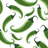 Πράσινο καυτό άνευ ραφής σχέδιο πιπεριών τσίλι Στοκ εικόνα με δικαίωμα ελεύθερης χρήσης