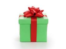 Πράσινο κιβώτιο δώρων το κόκκινο τόξο κορδελλών που απομονώνεται με στο λευκό Στοκ εικόνες με δικαίωμα ελεύθερης χρήσης