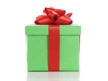 Πράσινο κιβώτιο δώρων το κόκκινο τόξο κορδελλών που απομονώνεται με στο λευκό Στοκ Εικόνες