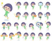 Πράσινο κορίτσι 2 γυαλιών Bobbed ενδυμάτων Στοκ Φωτογραφίες