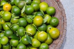 Πράσινο κουμκουάτ στο καλάθι στοκ εικόνα με δικαίωμα ελεύθερης χρήσης