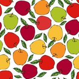 Πράσινο, κόκκινο, κίτρινο άνευ ραφής ατελείωτο σχέδιο της Apple Κόκκινος καρπός μήλων Το σπίτι παρασκευάζει Φυτική συλλογή συγκομ Στοκ εικόνα με δικαίωμα ελεύθερης χρήσης