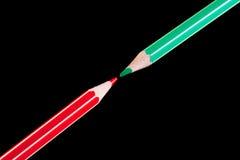 πράσινο κόκκινο μολυβιών &ka Στοκ Εικόνες