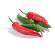 πράσινο κόκκινο πιπεριών τσίλι Στοκ Εικόνες