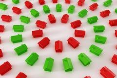 πράσινο κόκκινο σπιτιών κύκ&l απεικόνιση αποθεμάτων