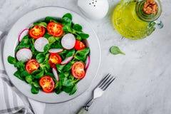 Πράσινο κύπελλο μαρουλιού σαλάτας με τις ντομάτες και το ραδίκι Στοκ φωτογραφία με δικαίωμα ελεύθερης χρήσης