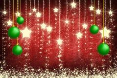 πράσινο λευκό αστεριών Χριστουγέννων σφαιρών ανασκόπησης Στοκ Φωτογραφίες