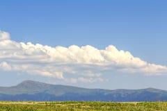 Πράσινο λιβάδι χλόης και απόμακρα μπλε βουνά Στοκ Εικόνα
