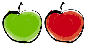 πράσινο μήλου κόκκινο ελεύθερη απεικόνιση δικαιώματος