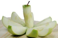πράσινο μήλου φέτες στοκ εικόνες