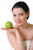 πράσινο μήλου όμορφη γυναίκα Στοκ Φωτογραφίες