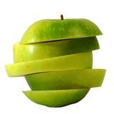 Πράσινο μήλο φωτογραφικών διαφανειών στη φέτα βημάτων Στοκ Φωτογραφία
